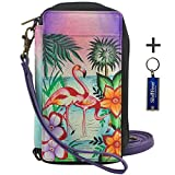 Anna by Anuschka Ladies Wallet & Key Chain (Smart Phone Case RFID Tropical Flamingo)