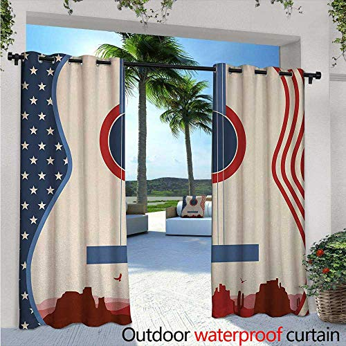 Music Fashions Drape W84 x L96 Country Music Festival Event Illustration Guitar with American Flag Design Print Outdoor Curtain Waterproof Rustproof Grommet Drape Cream Red Blue
