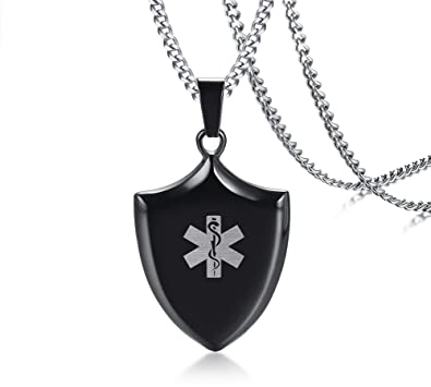 58ffe6015588e Free Engraving-Mens Stainless Steel Emergency Medical Alert Shield Tag  Pendant Necklace with 24