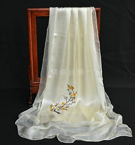 T Huang  LLZHWSJ Silk écharpe Femelle Long Main Main Broderie Point De Croix Soie De Mûrier ChÂle écharpe