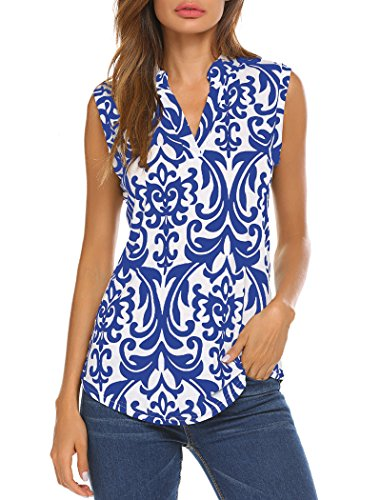 Halife Women's Sleeveless Floral Print V Neck Henley Tank Tops Blouse Shirts Tunic (XL, Blue)