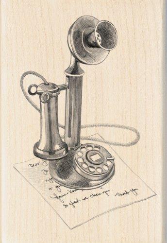 - Inkadinkado Vintage Phone Wood Stamp
