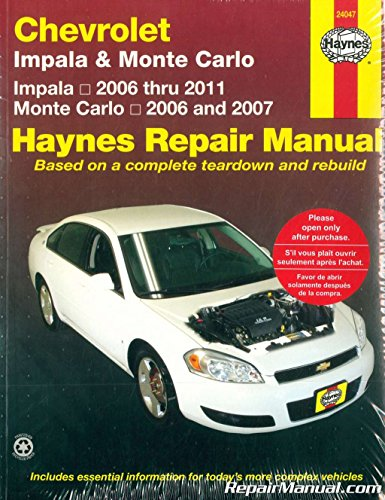H24047 Haynes Chevrolet Impala Monte Carlo 2006-2011 Auto Repair Manual