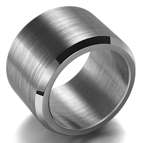 King Will BASIC 15MM Wedding Band For Men Tungsten Carbide Engagement Ring Comfort Fit Beveled Edges 12.5 - Edge Solid Tungsten Carbide Ring