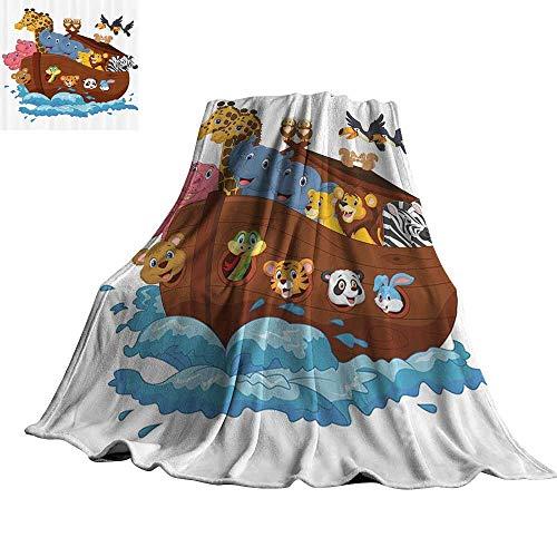 (Noahs Ark Decor Collection Reversible Blanket Noahs Ark Owl Pet Rabbit Mouse Panda Old Testament Symbol Joyful Art 50