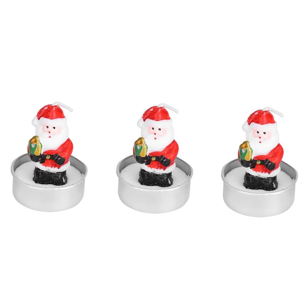 Garosa Candele Natalizie 3 pz/Set Decorazioni Natalizie per Candele Set di Decorazioni per la Camera di Natale Accessorio per Natale Xmas Festival(Santa Claus)