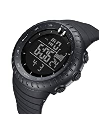 Men's Sports Digital Wrist Watches Electronic Quartz Movement Water Resistant Military Business Casual with LED Backlight (Black)