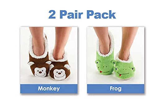 d9e6ec3c48c Pack of 2 x Animal Snoozies Soft Cosy Slippers - Green Frog + Brown ...