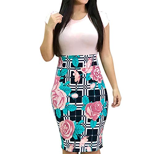 Caopixx Women Sexy O-Neck Short Sleeve Flower Printing Dress Formal Business Work Bodycon Dresses Pink ()
