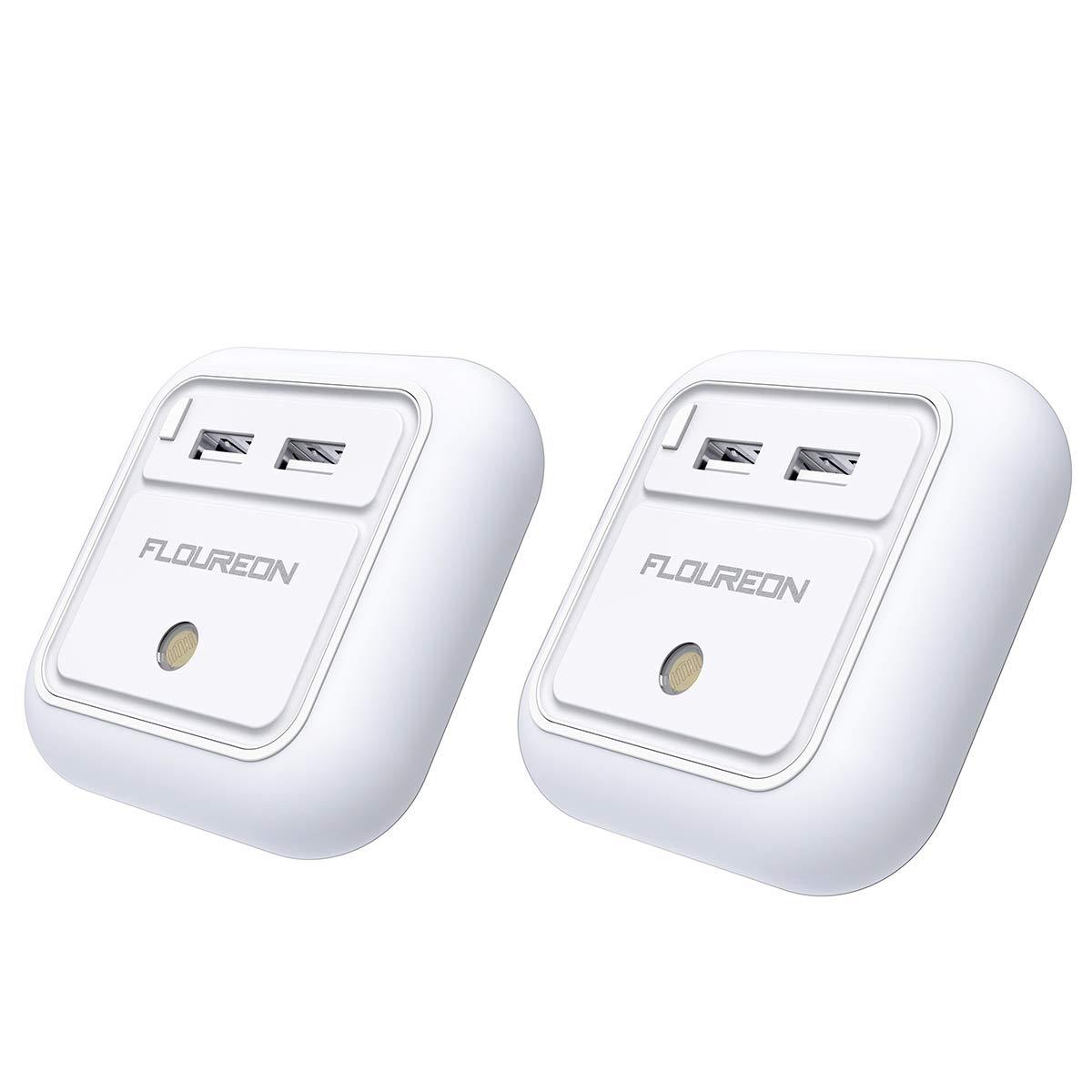 FLOUREON 2X LED Nachtlicht Steckdose mit Dä mmerungssensor Nachtlicht mit dual USB steckdosenlicht steckdosenlampe Wandladegerä t fü r Schlafzimmer Badezimmer Studie Bü ro Warmweiß