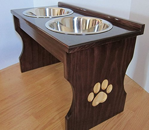 Paw Print Carved Leg Elevated Food Dish Holder - Medium by Clever Cat & Crafty Dog