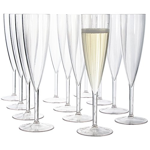 (Plastic 5-ounce One Piece Champagne Flute | set of 12 Clear)
