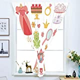 iPrint Blackout Window Curtain,Free Punching Magic Stickers Curtain,Kids Decor,Princess Tiara Tea Party Mirror Teapot Tea Party Frog Crown Fairy Cupcake Girls Decorative,Paste Style,for Living Room