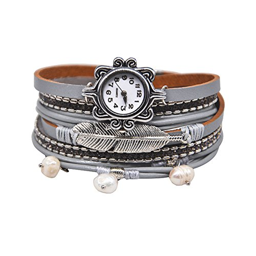 MINILUJIA Mother's Gift Vintage Casual Bohemian Style Women Leather Watch Small Watch Face Double Wrap Around Watch with Feather Pearl Magnetic Clasp Grey Strap (11.8'') by MINILUJIA