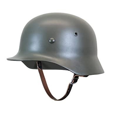 Reproduction WW2 German Army M35 STEEL HELMET with Leather Liner & Chin  Strap