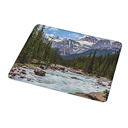 Gaming Mouse Pad Custom Design Mat Landscape,Photo of Limestone Creek in The Alberta Cold Winter Time Adventure Image Print,Non-Slip Rubber Base Ideal for Keyboard,PC and Laptop 9.8