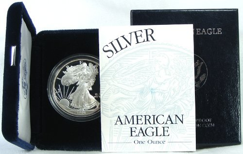 1996 Proof American Silver Eagle Dollar with Original - Silver 1996 Coin American Eagle