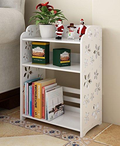Mybestfurn Multipurpose 3-Shelf Shoe Rack Bookcase Toy Storage Organizor, Waterproof Plastic Wood White 285