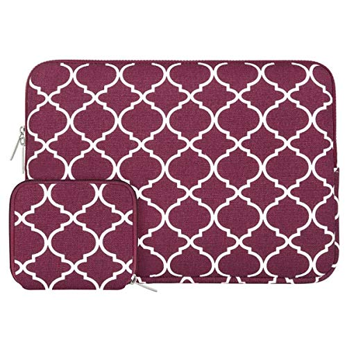 MOSISO Laptop Sleeve Bag Compatible with 13-13.3 inch MacBook Pro, MacBook Air, Notebook Computer with Small Case, Canvas Geometric Pattern Protective Carrying Cover, Wine Red Quatrefoil