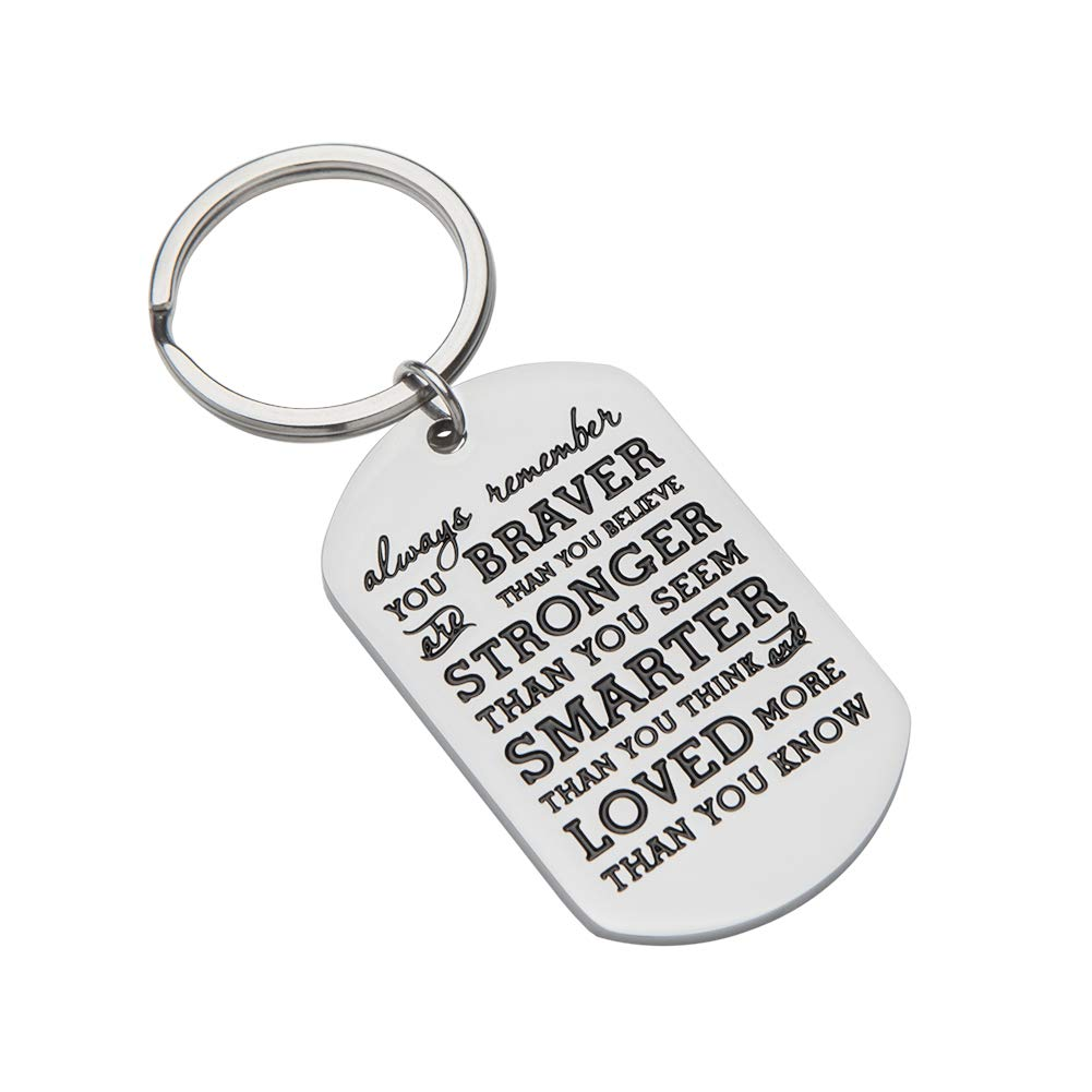 Inspirational Gifts for Teenage Girl Women Boy Men Christmas Gifts  Personalized Engraved Keychain Always Remember You are Braver Keychain Best  Stocking ... c74dba50c