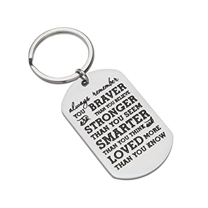 Inspirational Gifts For Teenage Girl Women Boy Men Christmas Personalized Engraved Keychain Always Remember You