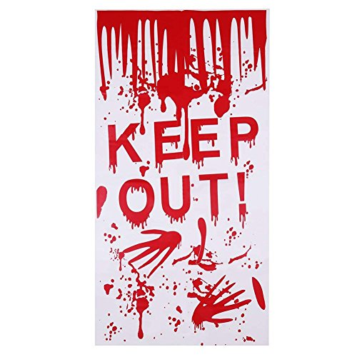 Kesoto Halloween Bloody Keep Out Restroom Door Cover Haunted House Decorations 22 x 47 inches ()