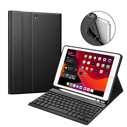 Fintie Keyboard Case for New iPad 7th Gen 10.2 Inch 2019, Soft TPU Back Protective Stand Cover with Built-in Pencil Holder, Magnetically Detachable Wireless Bluetooth Keyboard for iPad 10.2, Black