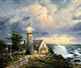 Amoutletstore Thomas Kinkade Lighthouse Storm Thomas Kinkade Lighthouse Storm Oil painting wall decoration 12x16(inches)