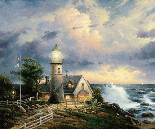 Amoutletstore Thomas Kinkade Lighthouse Storm Thomas Kinkade Lighthouse Storm Oil painting wall decoration 12x16(inches)