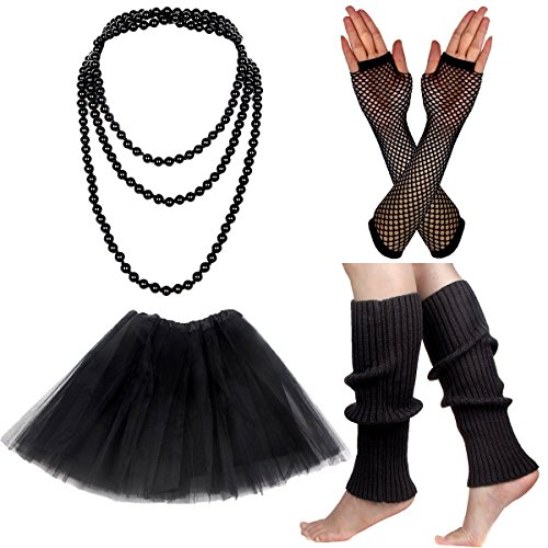 1980s Prom Costumes (Women's 80s Fancy Outfit Costume Accessories Set Adult Tutu Skirt Long Socks Fishnet Gloves Neon Earrings Beads (I))