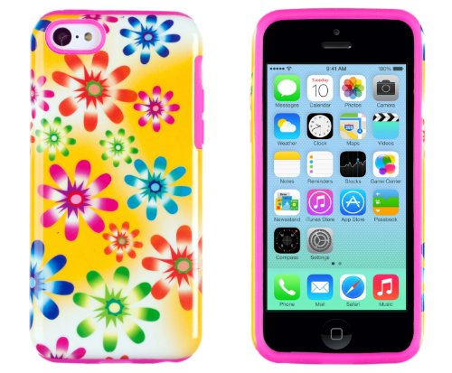 DandyCase 2in1 Hybrid High Impact Hard Pink & Green Floral Pattern + Yellow Silicone Case Cover For Apple iPhone 5C + DandyCase Screen Cleaner (Yellow Floral Pattern)