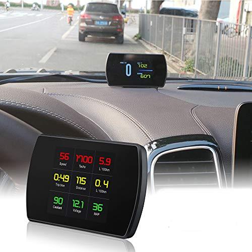 Qook OBD Scanner OBD2 Car Speed Projector Digital Speedometer Display Fuel Consumption Temperature Mileage Gauge OBDii Diagnostic Tool(P12)