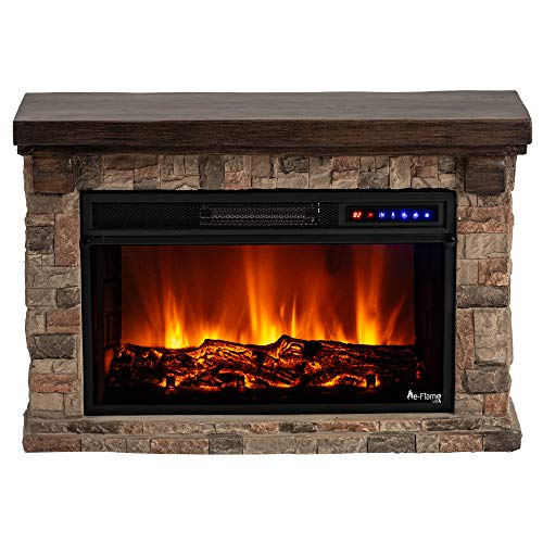 e-Flame USA Telluride LED Electric Fireplace Stove with Wood and Stone Mantel - Remote - 3D Log and Fire (Mantel Stove Wood Ideas)