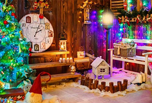 Yeele 7x5ft Christmas Party Background Xmas Tree Birdhouse Light Backdrop for Photography Year Eve Party Decorative Adult Kids Home Photo Booth Shoots Vinyl Studio Props