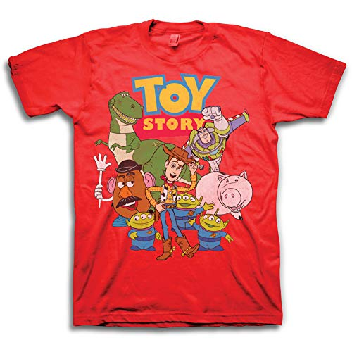 Toy Story Mens Group Shirt - Woody, Buzz Lightyear, Rex & Pizza Planet - Throwback Classic T-Shirt (Red, X-Large) -
