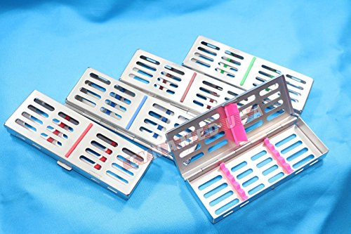 NEW PREMIUM German STAINLESS Dental Sterilization Cassette Rack Tray Box For 5 Surgical Instruments ( 5 DIFFERENT COLOR SET ) by Synamed