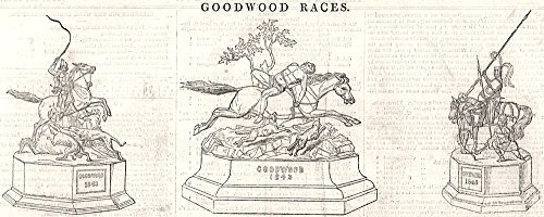 Goodwood Races. Prize Cup; the Goodwood Cup; Prize Cup. Sussex - 1843 - old print - antique print - vintage print - printed prints of Sussex