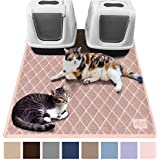 Gorilla Grip Original Premium Durable Multiple Cat Litter Mat (47x35), XL Jumbo, No Phthalate, Water Resistant, Traps Litter from Box and Cats, Scatter Control, Mats Soft on Kitty Paws (Light Pink)