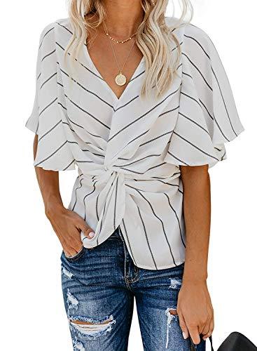 Women's Short Sleeve V Neck Ruched Twist Tops Tunic Chiffon Blouse Shirts (G-White, XX-Large)
