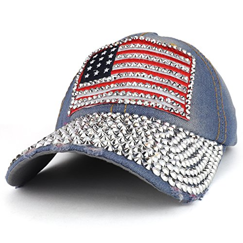 Armycrew Bling Studded US American Flag Embroidered Denim Cap With Stones - Light - Flag Studded