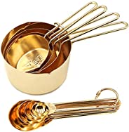 Homestia Stainless Steel Measuring Cups and Spoons Set of 8 Pcs Baking Cooking Utensils with Measurement for D