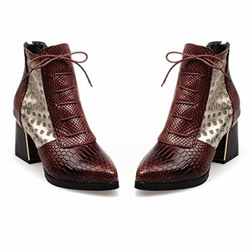 Toe Pointed Heels Fashion Brown Hoof Cross Tribble Boot Boots Women Print High Snake Ankle Jeff Short tie OxqAIE