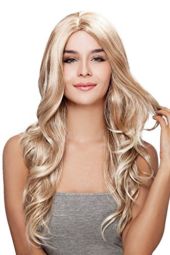 Kalyss Long Body Wavy Curly Wigs Ombre Blonde Premium Synthetic Wigs Heat Resistant Wigs for Women Natural Looking Middle Parting Hairline Fashion Looking Wigs -