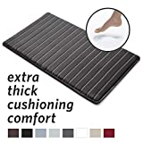 MICRODRY Extra-Thick, SoftLux, Charcoal Infused Memory Foam Bath Mat with GripTex Skid-Resistant Base, 21x34, Charcoal