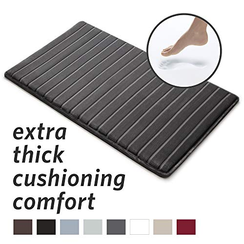 - MICRODRY Extra-Thick, SoftLux, Charcoal Infused Memory Foam Bath Mat with GripTex Skid-Resistant Base, 21x34, Charcoal