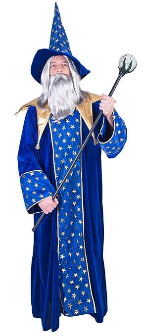 Zauberer Isior Magier Kostum Fur Herren Blau Gold Hexer Robe Und