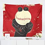 Baseball Tapestry Wall Hanging Fastball Ball Pitcher Tapestries Decor College Dorm Living Room Art Gift Bedroom Dormitory Bedspread Small Medium Large - Printed in the USA