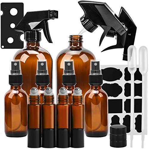 Glass Spray Bottle, KAMOTA Amber Glass Spray Bottles Set Refillable Container for Essential Oils, Cleaning Products, or Aromatherapy - 16 OZ x 2, 2 OZ x 4, 10 ml Roller Bottle x 4 ()