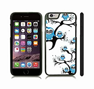 iStar Cases? iPhone 6 Plus Case with Blue Owls on Black Branches on White Background , Snap-on Cover, Hard Carrying Case (Black)
