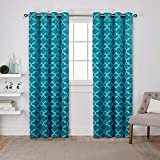Cheap Exclusive Home Cartago Insulated Woven Blackout Grommet Top Curtain Panel Pair, Teal, 54×96, 2 Piece